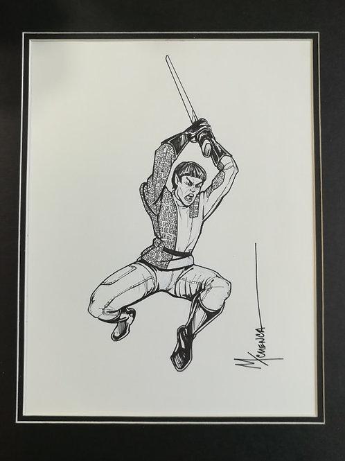 """Matted Original Inked RPG Illustration Romulans """"Sword"""""""