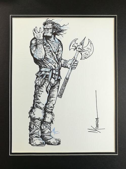 """Matted Original Inked RPG Illustration: """"Orc"""""""