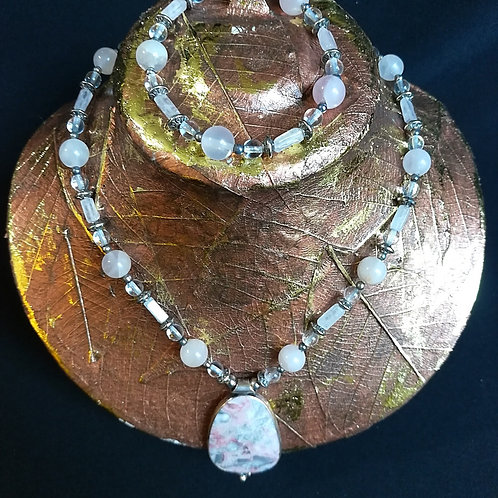 Sterling Silver Pink Water Jasper Pendant - Rose Quartz Necklace & Bracelet