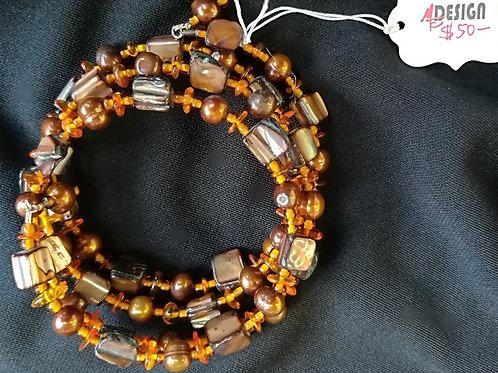Gold Pearl & Amber Shell Memory Bracelet