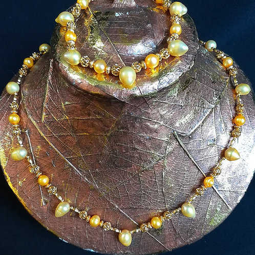 Gold-plated Mango & Yellow Baroque & Drop Pearl Necklace & Bracelet Set