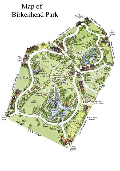 birkenhead, park, map,