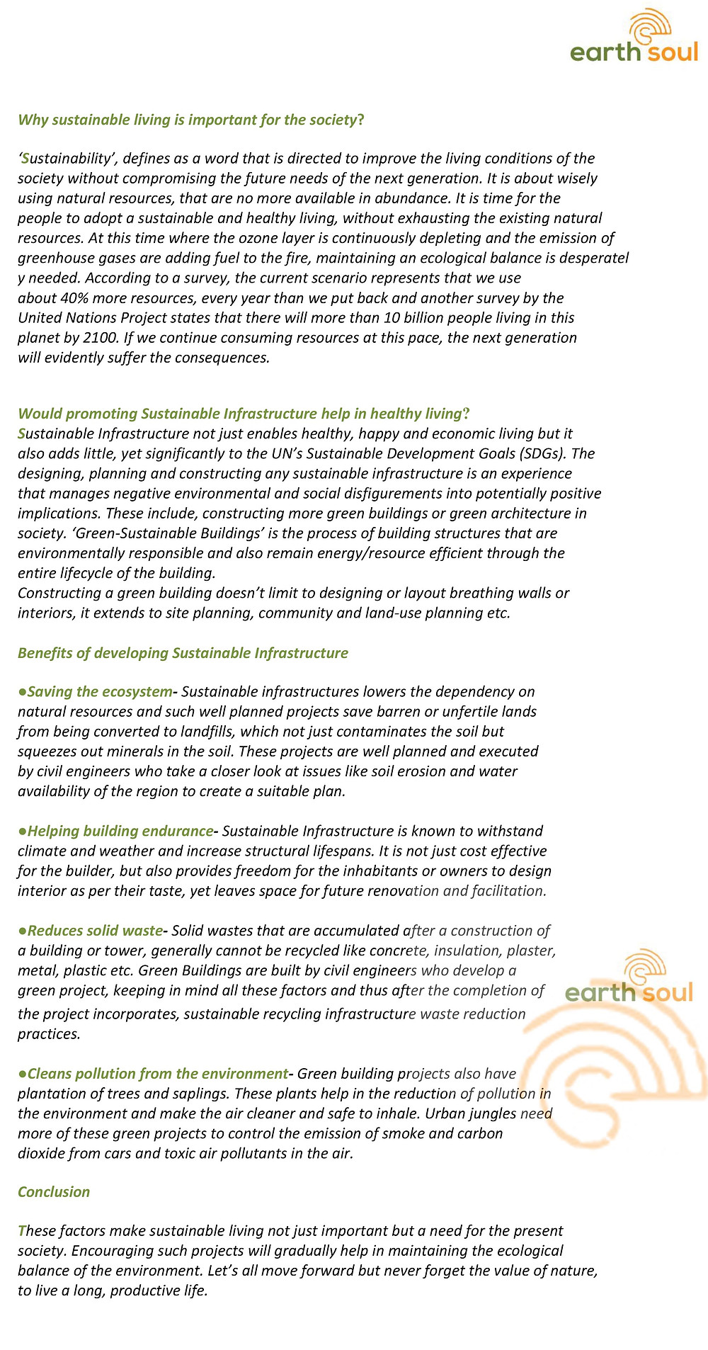 Importance and Benefits of Sustainable infrastructure