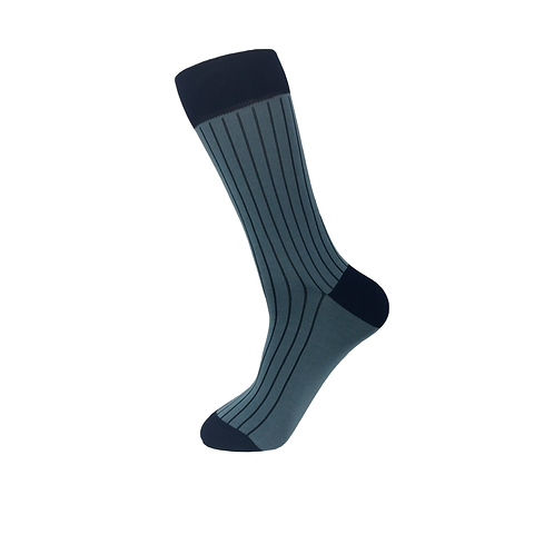 50 pairs of Men Rib Socks-Simple Blue
