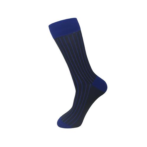50 pairs of Men Rib Socks-Charcoal with Blue Rib
