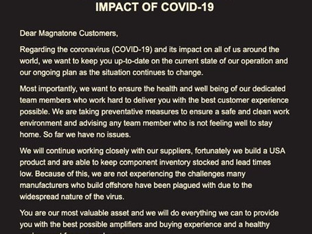 Impact of COVID-19 on Magnatone Operations as of March 17
