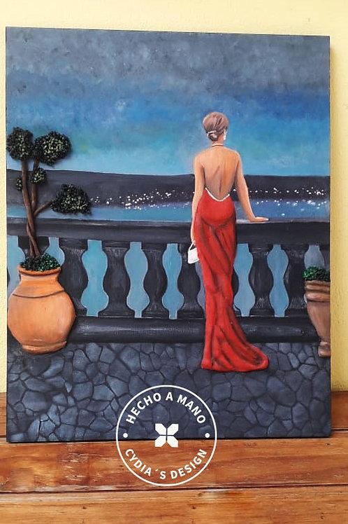 Mujer vestida de gala en valcon con vista noche estrellada
