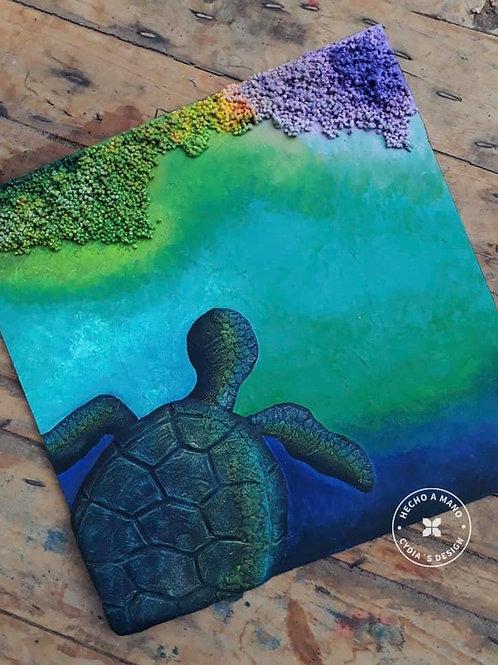Cuadro de tortuga en arrecife.