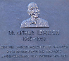 Dr. Arthur Lemisch Gedenkstein in Klagenfurt, gesetzt durch die p.c.B! Tauriska zu Klagenfurt