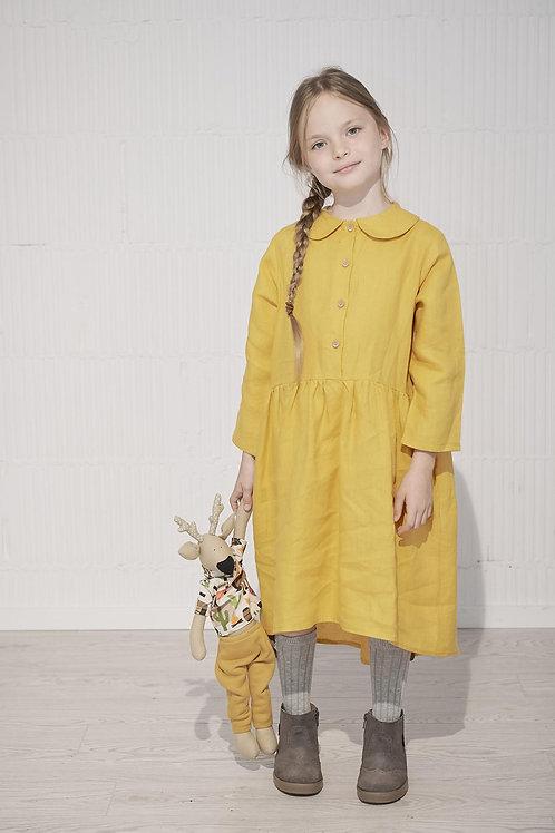 Mustard Linen Girls' Dress, Handmade