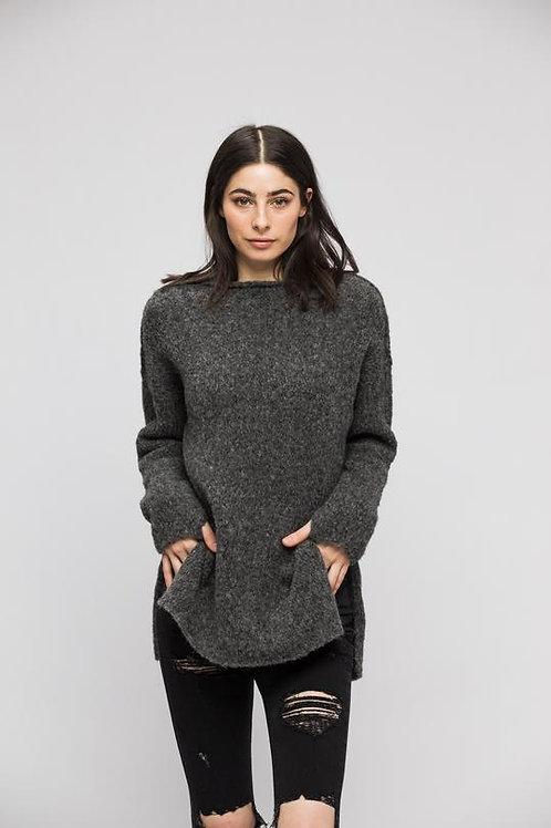 Grey Alpaca Split Sides Sweater