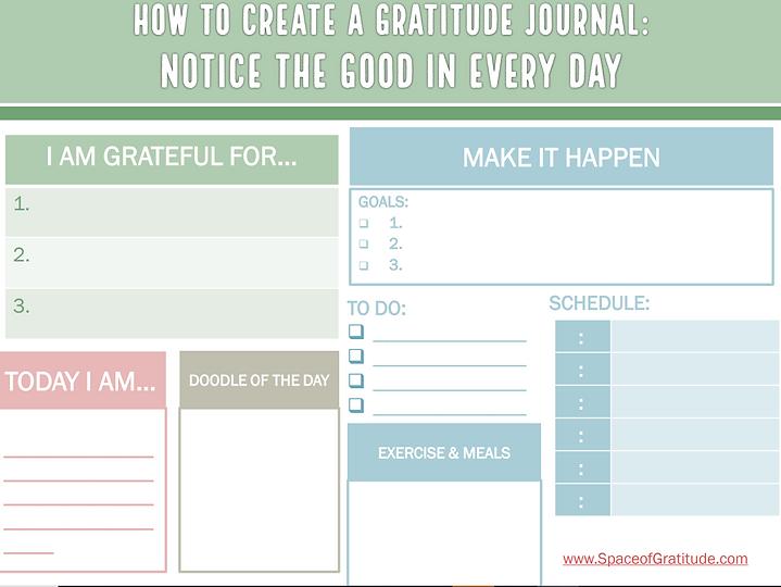 Gratitude Journal Page -Free Download PDF