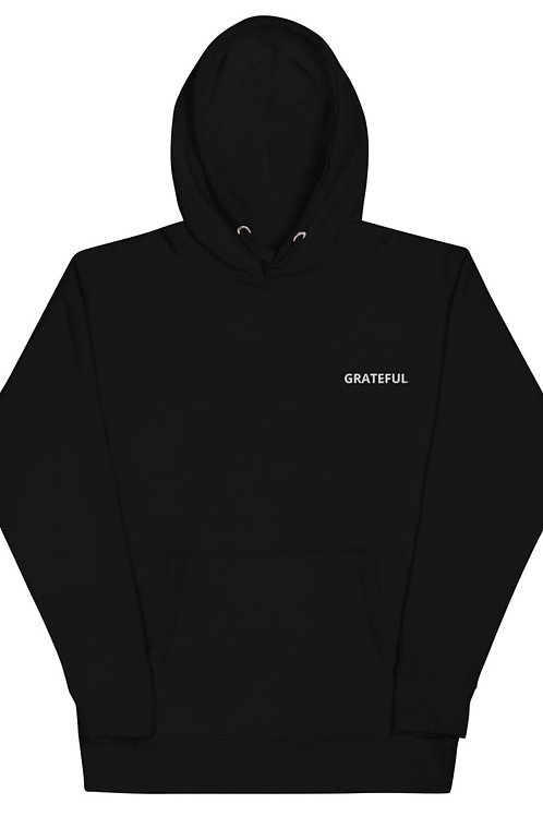 Grateful Embroidered Black Unisex Hoodie