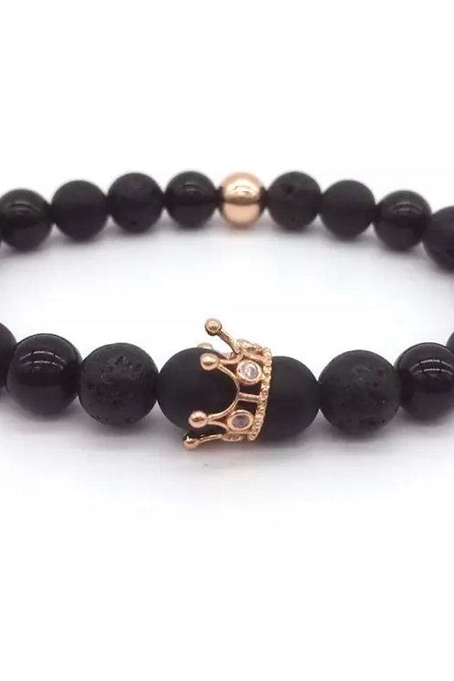Black King Lava Stone Bracelet