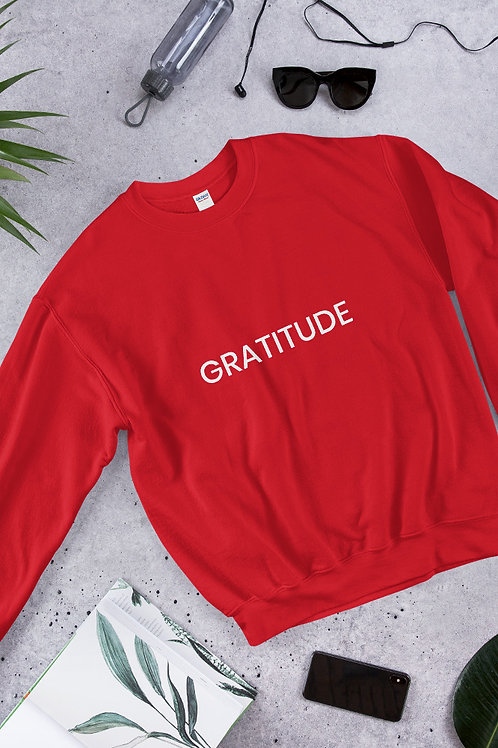 Gratitude Unisex-White Font Sweatshirt