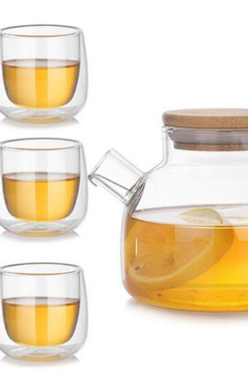 Glass Teapot Kettle & Tea Cups