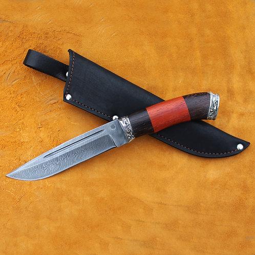"""Нож """"Луч"""" дамасская сталь с литьем из мельхиора"""