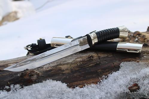 Нож Пластунский в деревянных ножнах с литьем из мельхиора