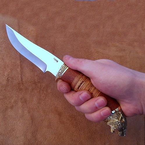 """Кованый нож """"Куница"""" с литьем из мельхиора"""