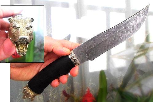 """Нож """"Таежный"""" дамасская сталь с литьем из латуни"""