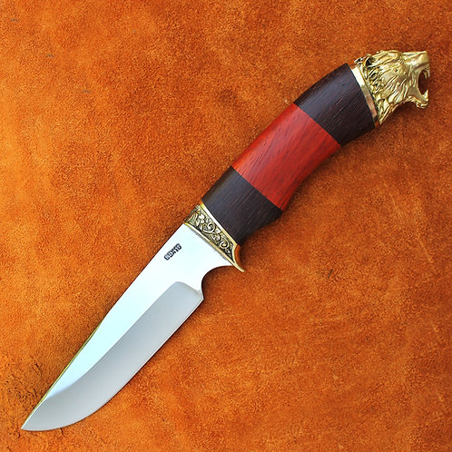 """Кованый нож """"Уссуриец"""" c литьем из латуни"""