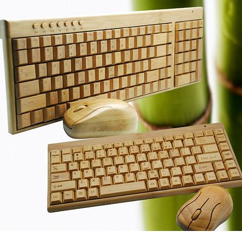 Деревянная клавиатура и мышь