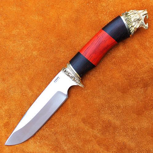 """Кованый нож """"Пума""""  с литьем из латуни"""