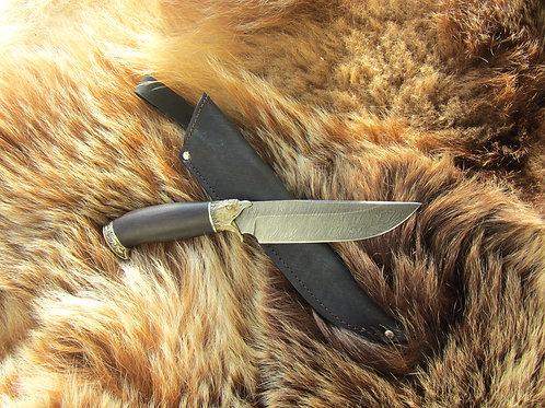 """Дамасский нож """"Пума"""" с литьем из латуни"""
