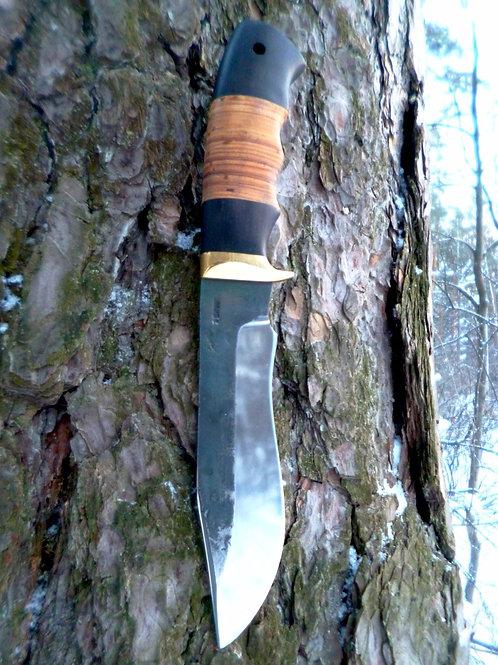 """Кованый нож """"Леший"""" с проставкой из наборной бересты"""