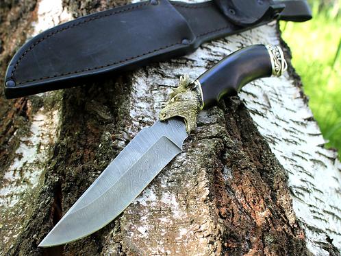 Кованый нож из дамасской стали в подарочном исполнении