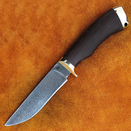 """Дамасский нож """"Лис"""" с литьем из мельхиора"""