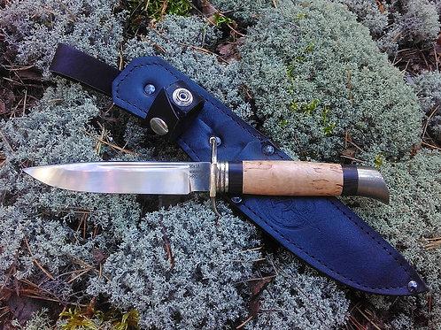 Нож Финка НКВД из стали 95х18 с рукоятью из карельской березы