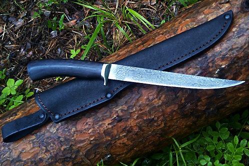Нож ФИЛЕЙНЫЙ дамаск с гардой из мельхиора