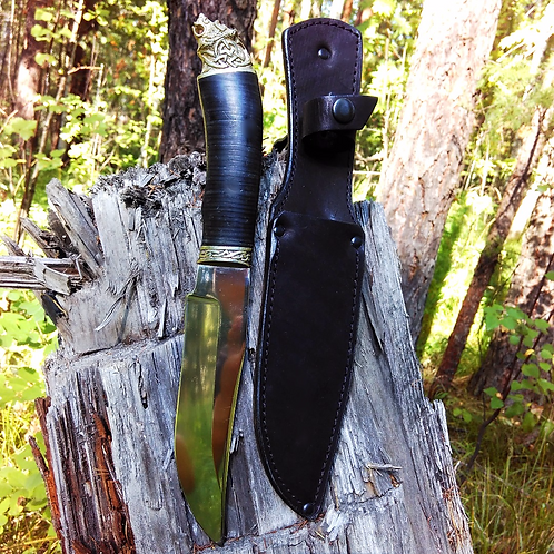 """Нож """"Таежный""""  с рукоятью из наборной кожи"""