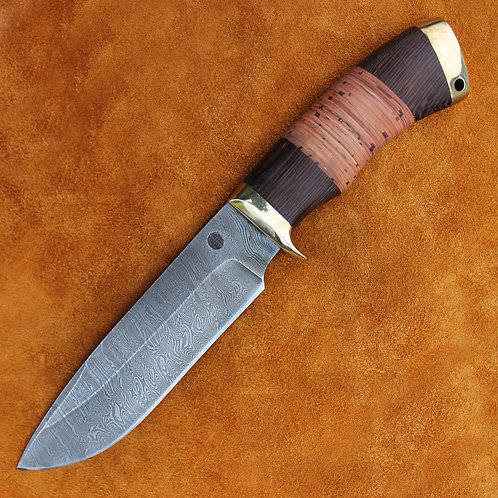 """Дамасский нож """"Морж"""" с литьем из латуни"""