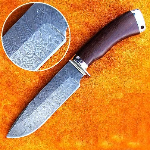 """Дамасский нож """"Морж"""" с литьем из мельхиора"""
