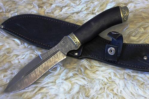 Нож Каратель дамасская сталь с литьем из латуни