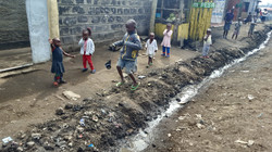 Kids playing near the sewer