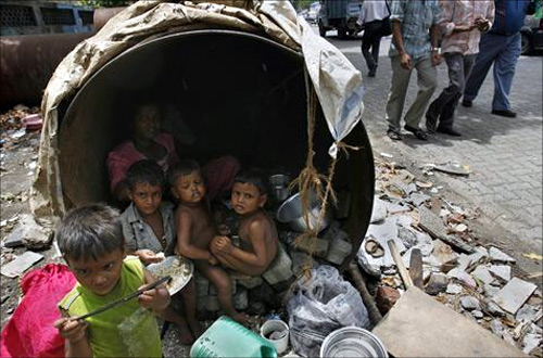 Street kids living in a pipe