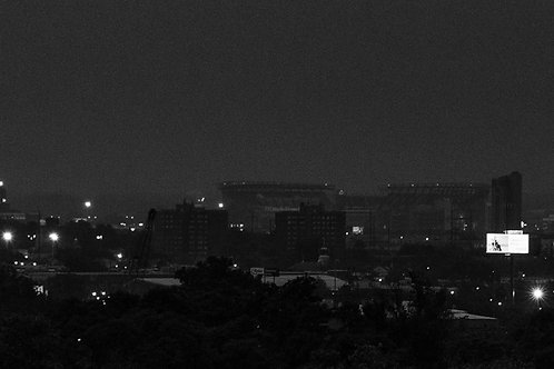 5x15 panorama B&W print: Philly Sports Complex at Night