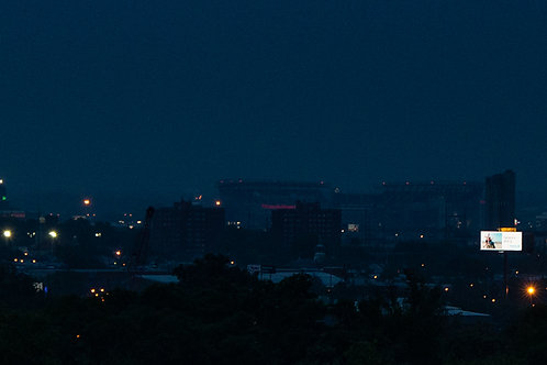 8x24 panorama color print: Philly Sports Complex at Night