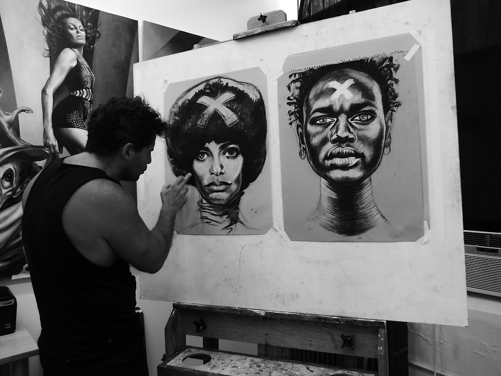 Artist Steff Duffy Paints in Studio