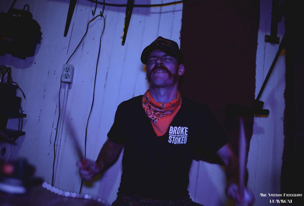 """Get Off My Lawn's' Drummer in rehearsal in Brooklyn"