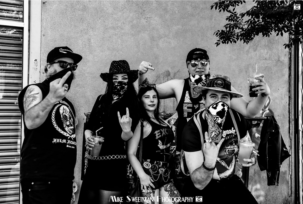 A group of metal-heads at Lucky 13 Saloon in Brooklyn