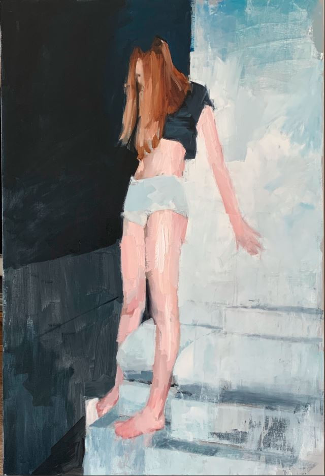 Oil Painting of a girl leaning on a monument.