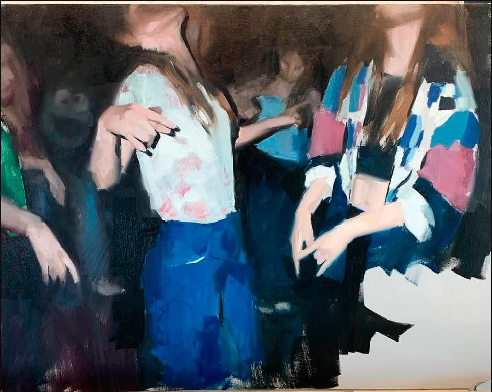 Girls dance at party, an oil painting by Mark Tennant