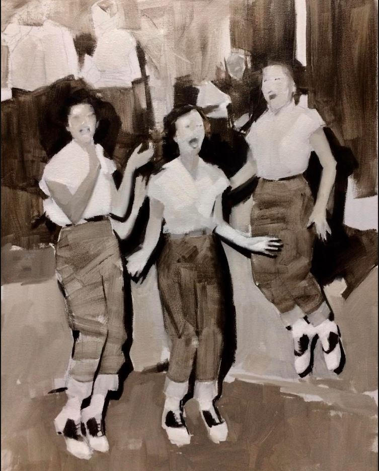 Mid-century girls celebrate