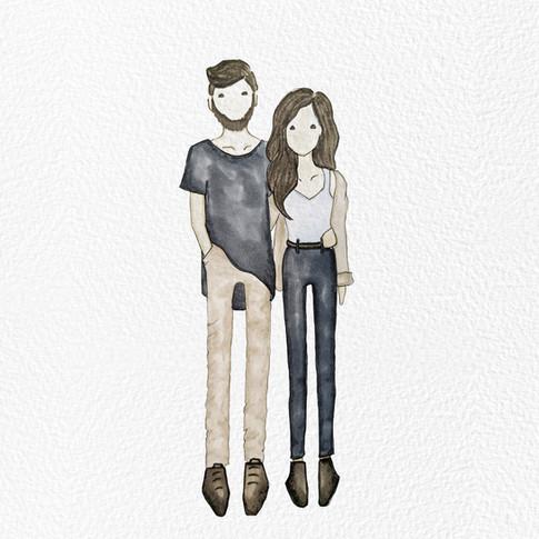 Monica and Oliver Illustration