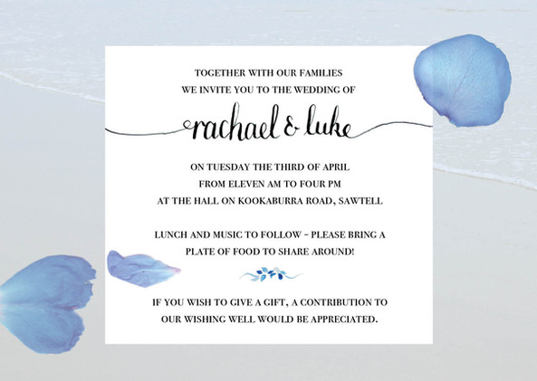 Rachael and Luke Invitations