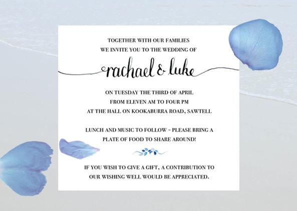 Rachael and Luke Invitations
